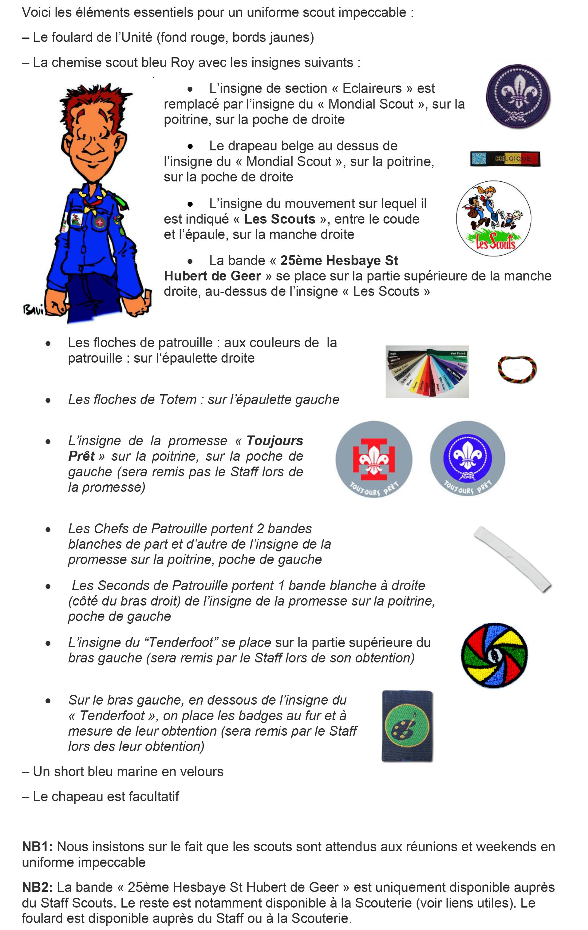 Uniforme et Insignes SCOUTS