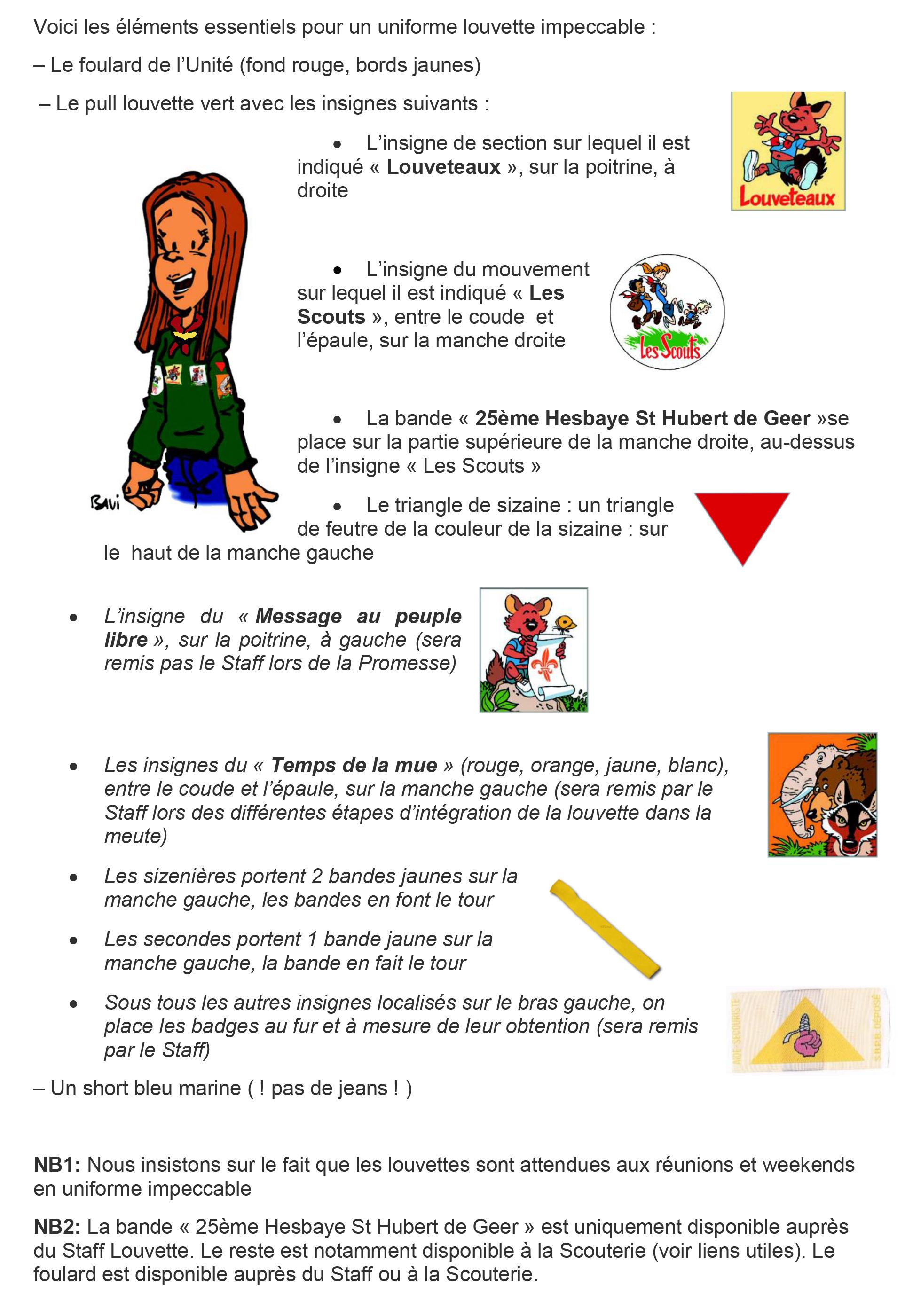 Uniforme et Insignes LOUVETTES