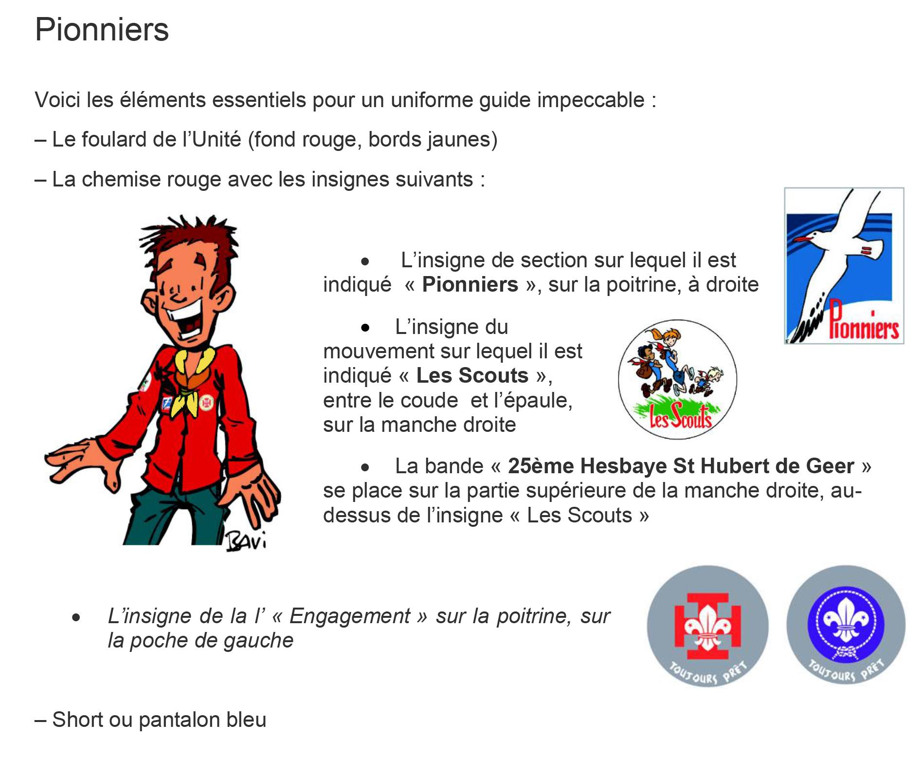 Uniforme et Insignes PIONNIERS